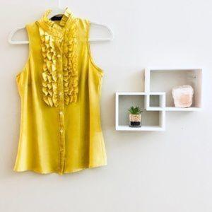 3/25 THE LIMITED Ruffle Mustard Yellow Blouse
